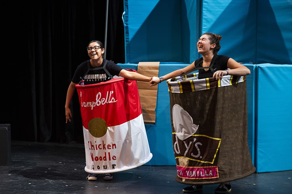 "Actors portraying animate grocery items in ""The Souperior Ice Cream."" Photo by Youngsun Palmer."