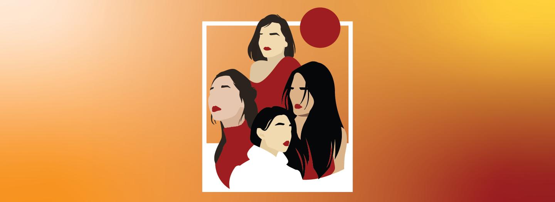 Asiamnesia poster featuring graphic representation of 4 dark-haired women