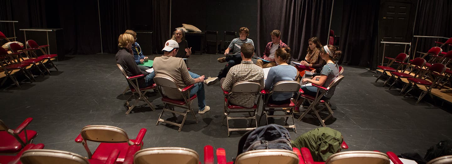 Students sitting in an acting class with Carolyn Goelzer
