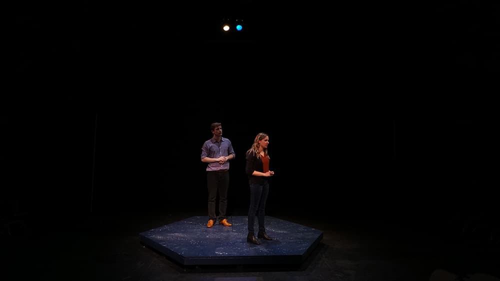 Nina Leeds '19 as Marianne and Reed Rosenberg '20 as Roland in Constellations by Nick Payne, directed by Julia Dunetz '19.