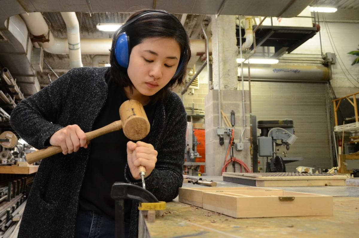 Jeanette Pang in the Schwartz Center's scene shop
