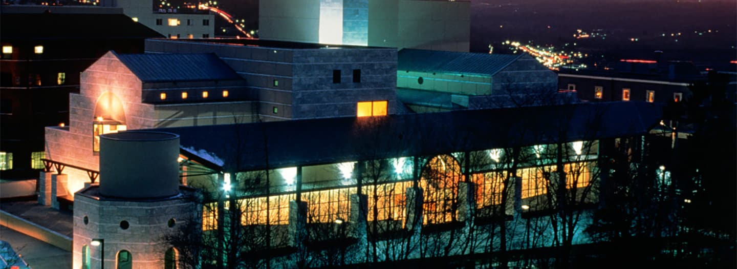 Schwartz Center lit up at night