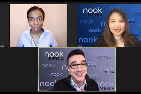 Composite of three individuals in a virtual meeting