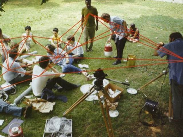 The cast and crew of Symbiopsychotaxiplasm, Take One lounging in Central Park, 1968
